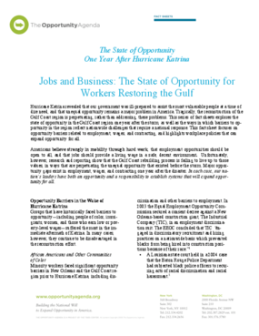 Jobs and Business - The State of Opportunity for Workers in the Gulf